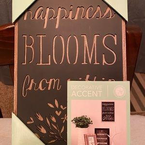 Wood Sign; Happiness Blossoms from within